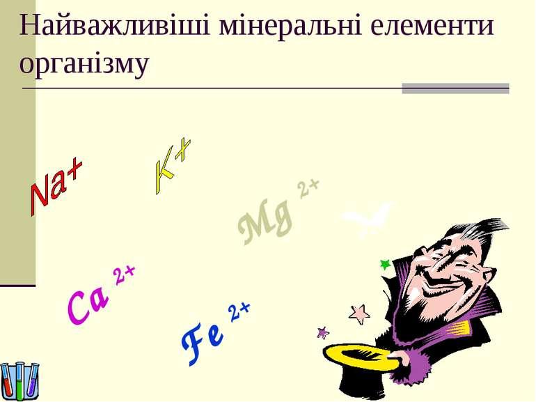 Найважливіші мінеральні елементи організму Ca 2+ Fe 2+ Mg 2+ Mg 2+