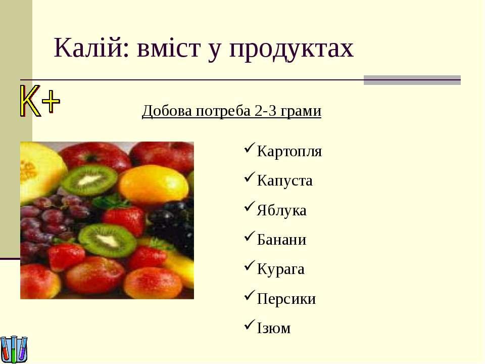 Калій: вміст у продуктах Добова потреба 2-3 грами Картопля Капуста Яблука Бан...