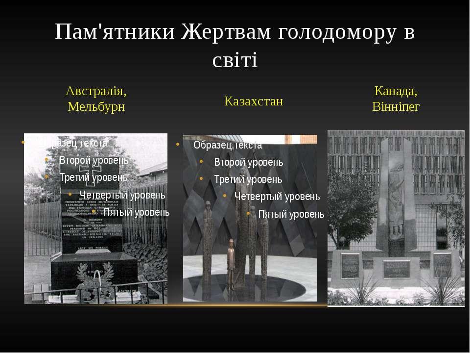 Пам'ятники Жертвам голодомору в світі Австралія, Мельбурн Казахстан Канада, В...