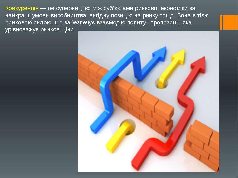 Конкуренція — це суперництво між суб'єктами ринкової економіки за найкращі ум...