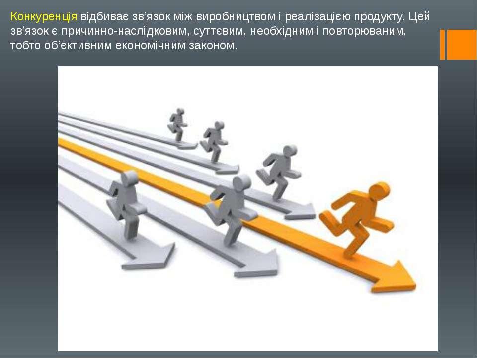 Конкуренція відбиває зв'язок між виробництвом і реалізацією продукту. Цей зв'...