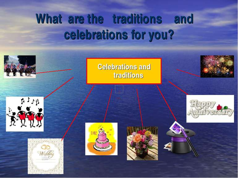 What are the traditions and celebrations for you? Celebrations and traditions