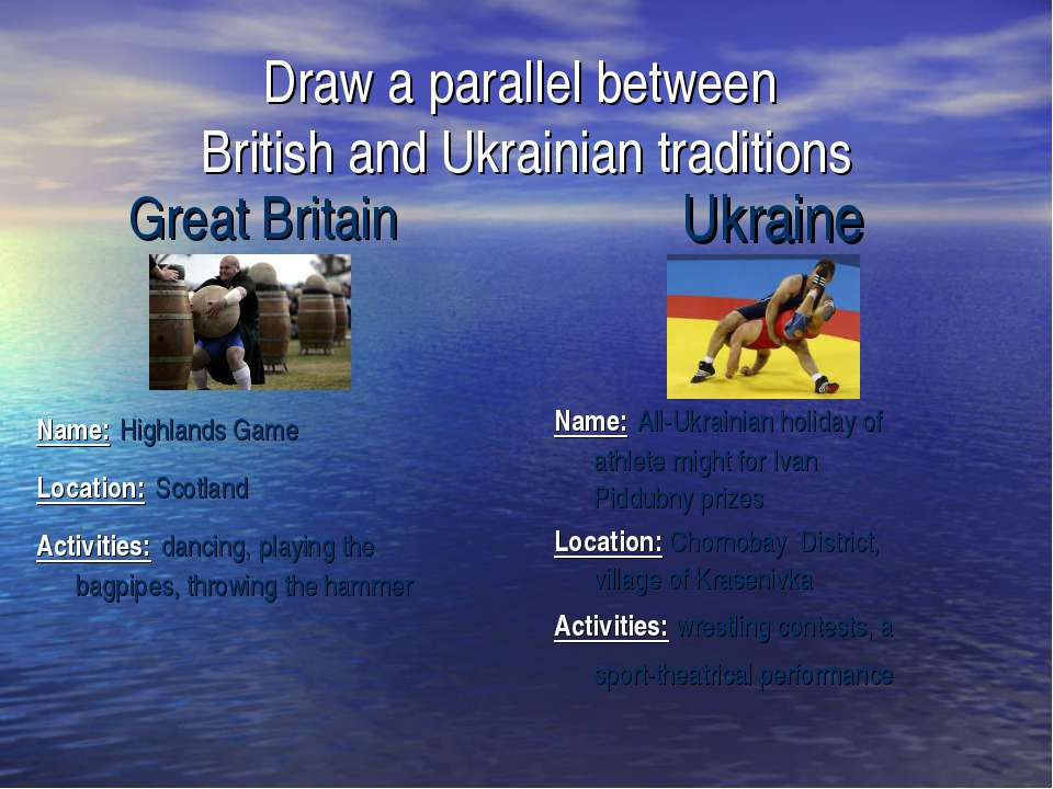 Draw a parallel between British and Ukrainian traditions Ukraine Great Britai...