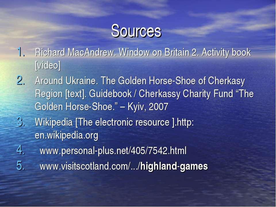 Sources Richard MacAndrew. Window on Britain 2. Activity book [video] Around ...