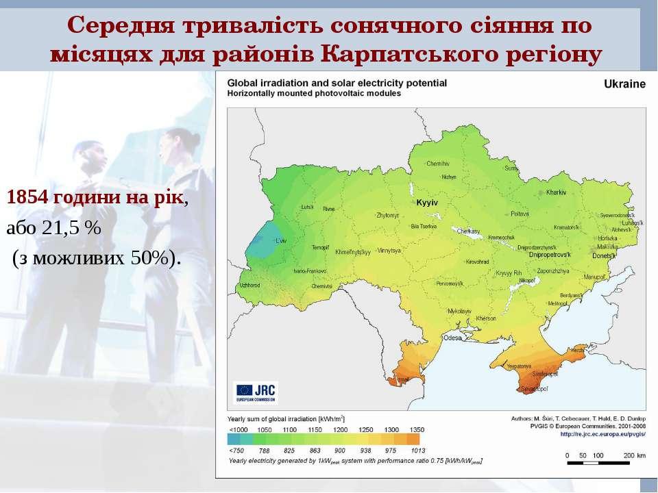 Середня тривалість сонячного сіяння по місяцях для районів Карпатського регіо...