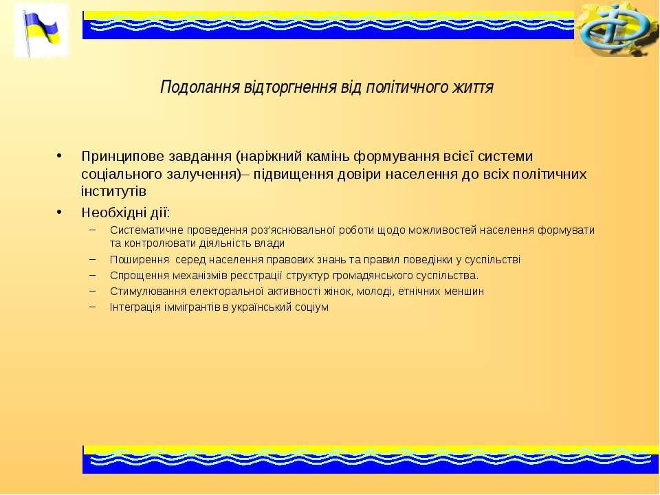 Подолання відторгнення від політичного життя Принципове завдання (наріжний ка...