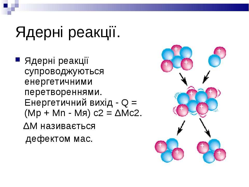 Ядерні реакції. Ядерні реакції супроводжуються енергетичними перетвореннями. ...