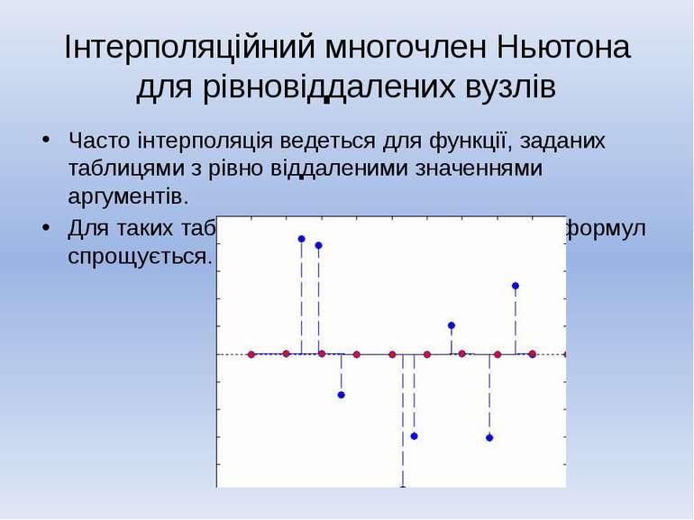 Інтерполяційний многочлен Ньютона для рівновіддалених вузлів Часто інтерполяц...