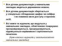 Вся ділова документація у навчальних закладах ведеться державною мовою. Вся д...