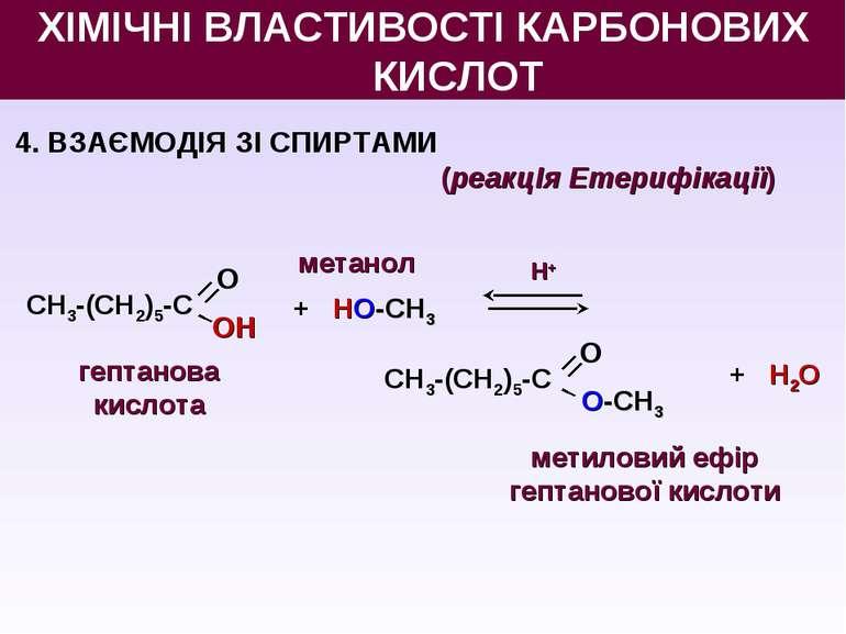4. ВЗАЄМОДІЯ ЗІ СПИРТАМИ (реакцІя Етерифікації) + НО-СН3 Н+ + Н2O гептанова к...