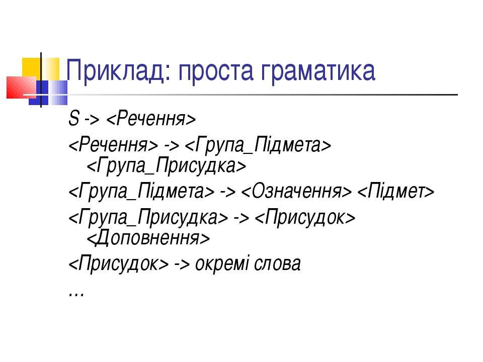 Приклад: проста граматика S -> -> -> -> -> окремі слова …