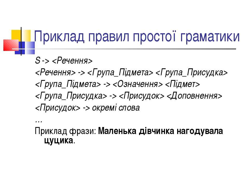 Приклад правил простої граматики S -> -> -> -> -> окремі слова … Приклад фраз...