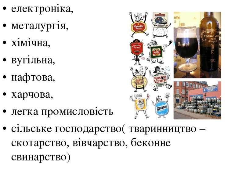електроніка, металургія, хімічна, вугільна, нафтова, харчова, легка промислов...
