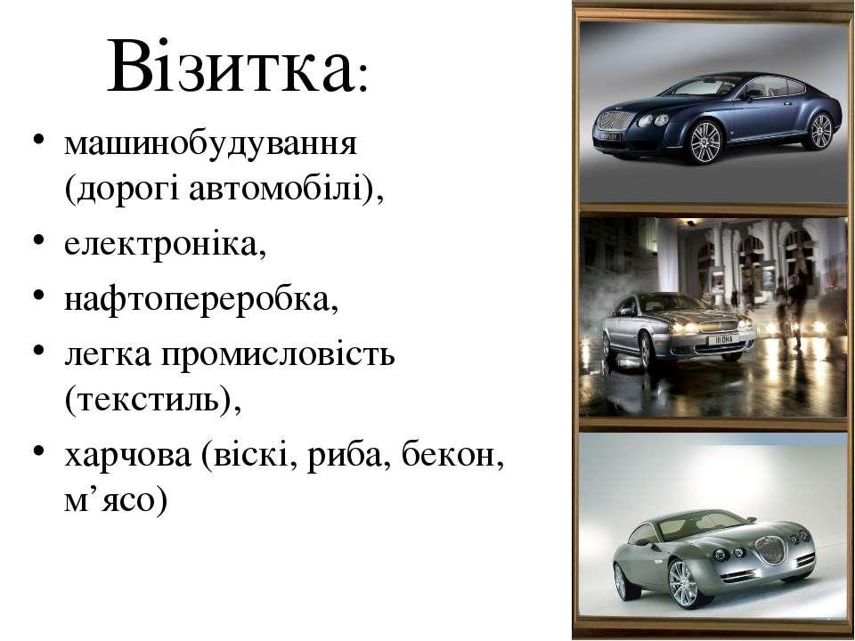 Візитка: машинобудування (дорогі автомобілі), електроніка, нафтопереробка, ле...