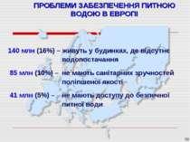 * ПРОБЛЕМИ ЗАБЕЗПЕЧЕННЯ ПИТНОЮ ВОДОЮ В ЕВРОПІ 140 млн (16%) – живуть у будинк...
