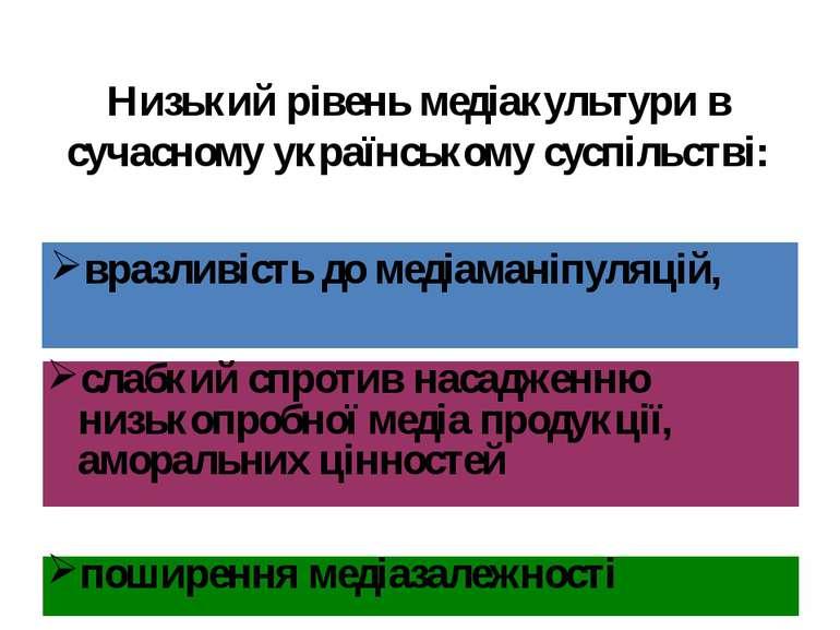 Низький рівень медіакультури в сучасному українському суспільстві: вразливіст...