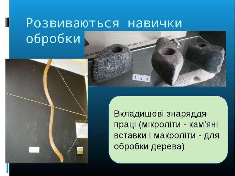 Розвиваються навички обробки каменю Вкладишеві знаряддя праці (мікроліти - ка...