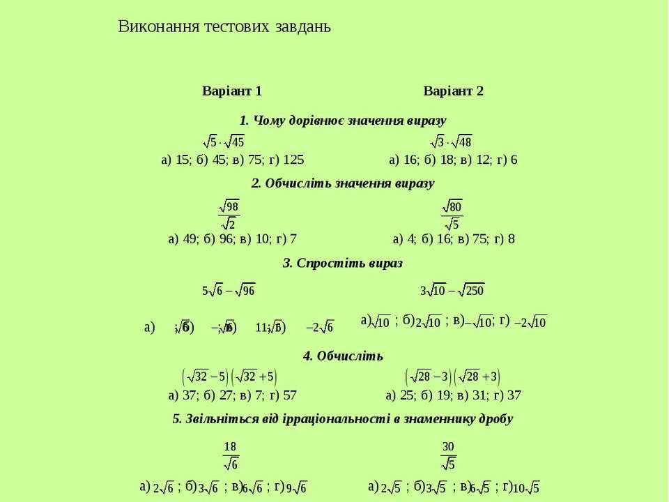 Тема. Найпростіші перетворення коренів Виконання тестових завдань Варіант 1 В...
