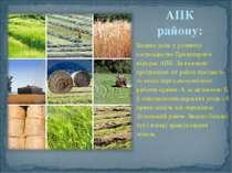 АПК району: Велику роль у розвитку господарства Придніпров'я відіграє АПК. За...