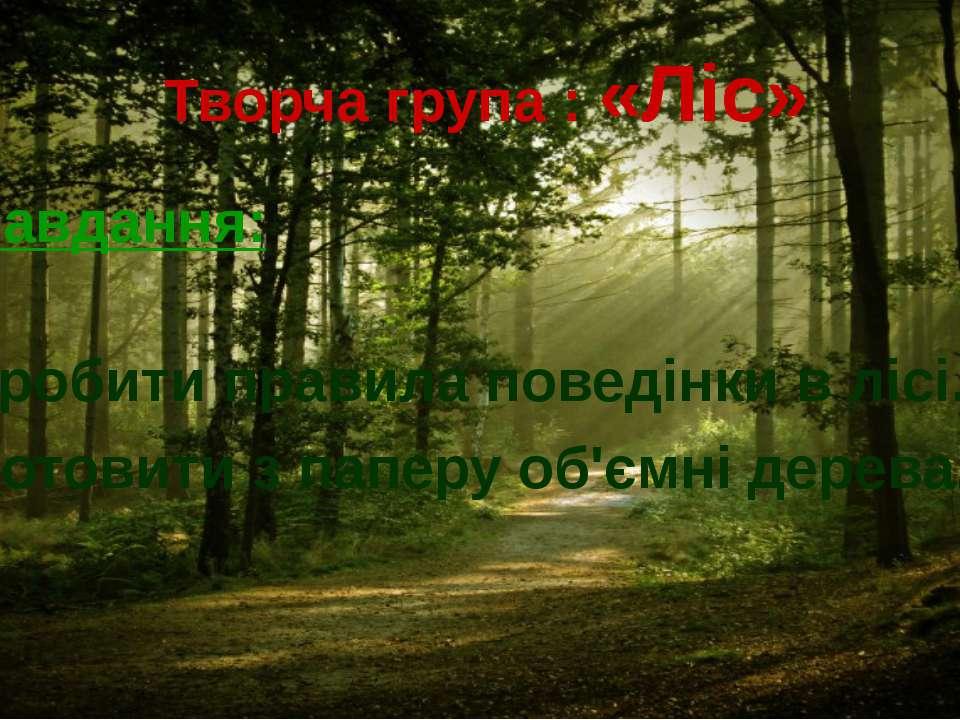 Творча група : «Ліс» Завдання: 1. Розробити правила поведінки в лісі. 2. Виго...