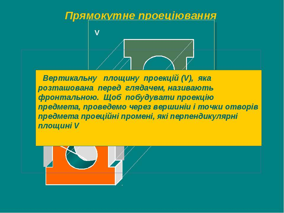 Прямокутне проеціювання V Вертикальну площину проекцій (V), яка розташована п...