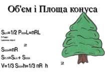 Об'єм і Площа конуса SБ.П=1/2 PоснL=пRL R-Радіус L-довжина твірної Sосн=пR Sп...