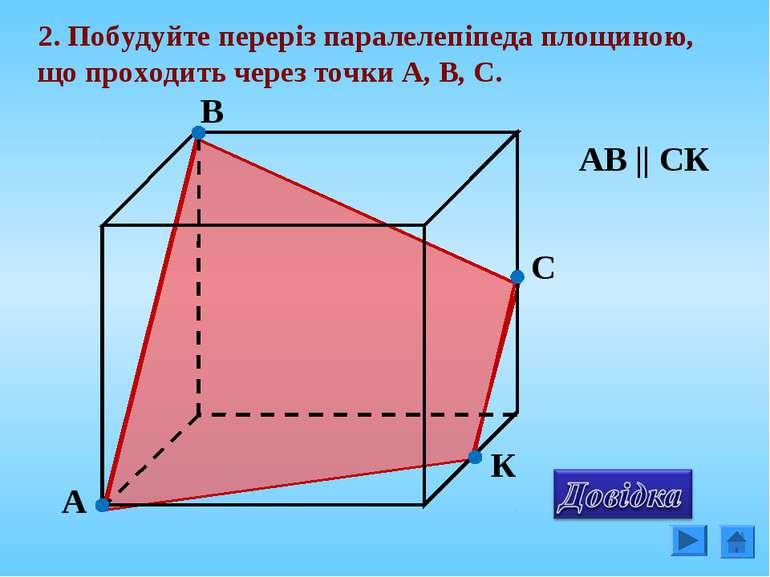 2. Побудуйте переріз паралелепіпеда площиною, що проходить через точки А, В, ...