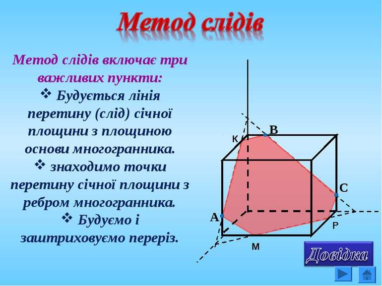 Метод слідів включає три важливих пункти: Будується лінія перетину (слід) січ...