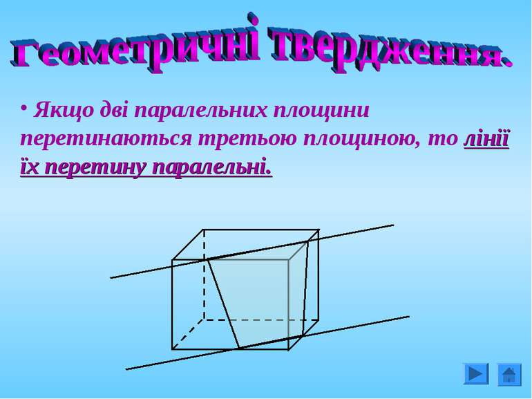 Якщо дві паралельних площини перетинаються третьою площиною, то лінії їх пере...