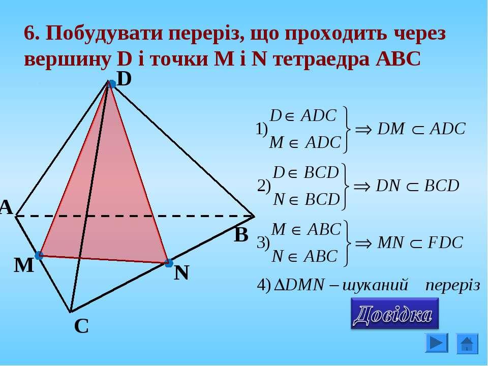 6. Побудувати переріз, що проходить через вершину D і точки М і N тетраедра А...