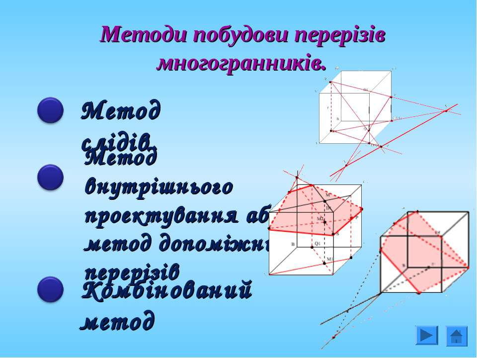 Методи побудови перерізів многогранників. Метод слідів. Метод внутрішнього пр...