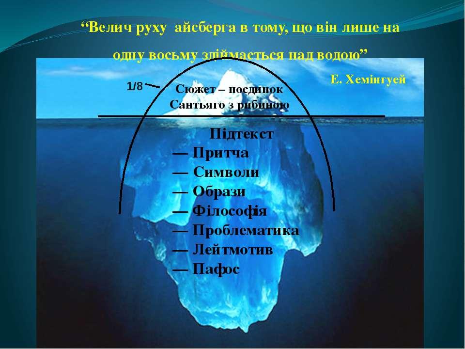 """""""Велич руху айсберга в тому, що він лише на одну восьму здіймається над водою"""""""