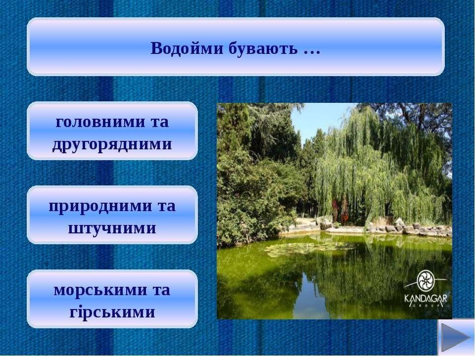 Витік річки – це … заглиблення, по якому вона тече місце, де вона впадає в ін...