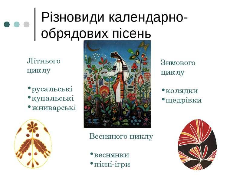 Різновиди календарно-обрядових пісень Літнього циклу русальські купальські жн...