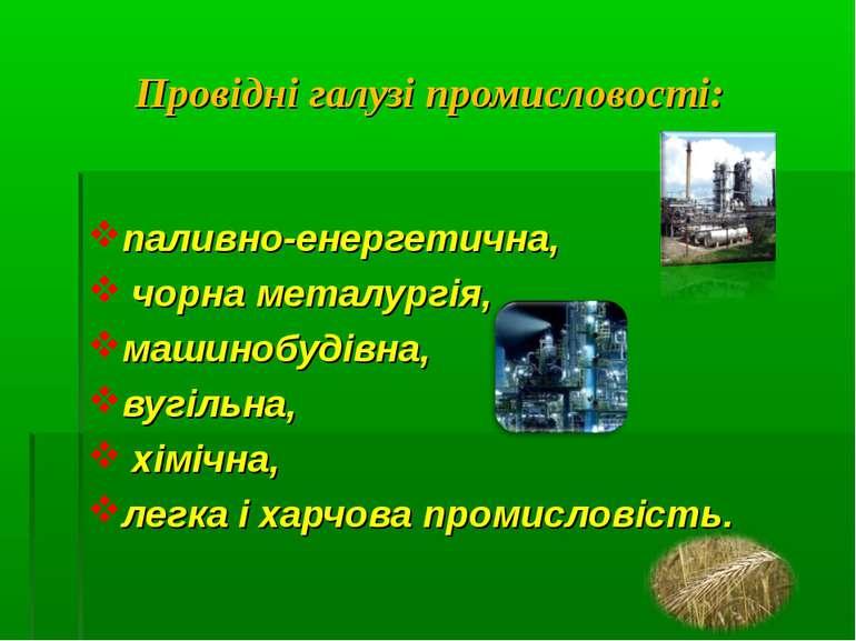 Провідні галузі промисловості: паливно-енергетична, чорна металургія, машиноб...