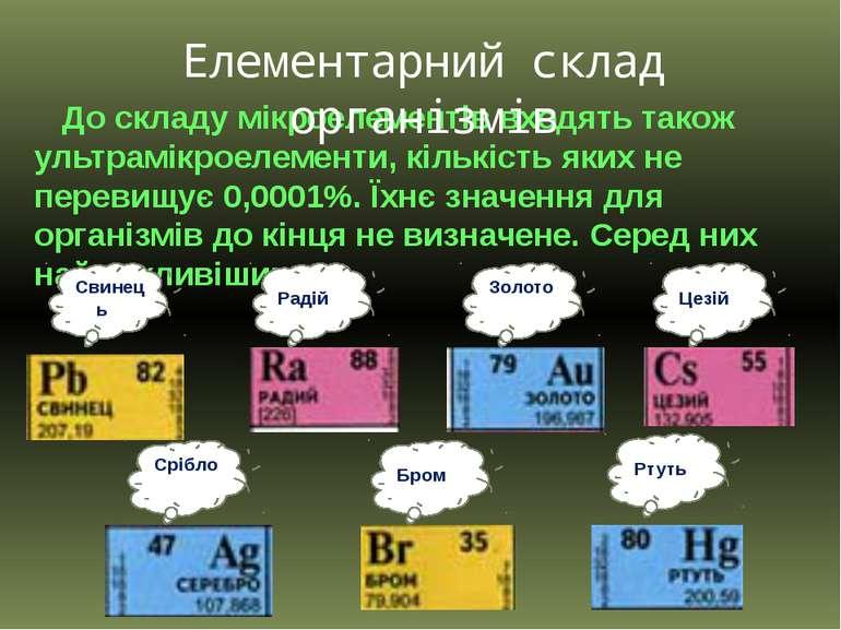 До складу мікроелементів входять також ультрамікроелементи, кількість яких не...