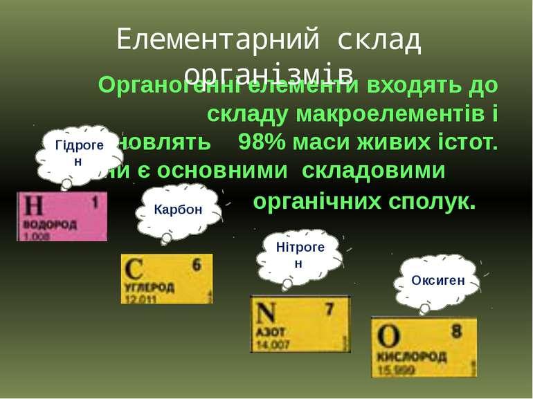 Органогенні елементи входять до складу макроелементів і становлять 98% маси ж...