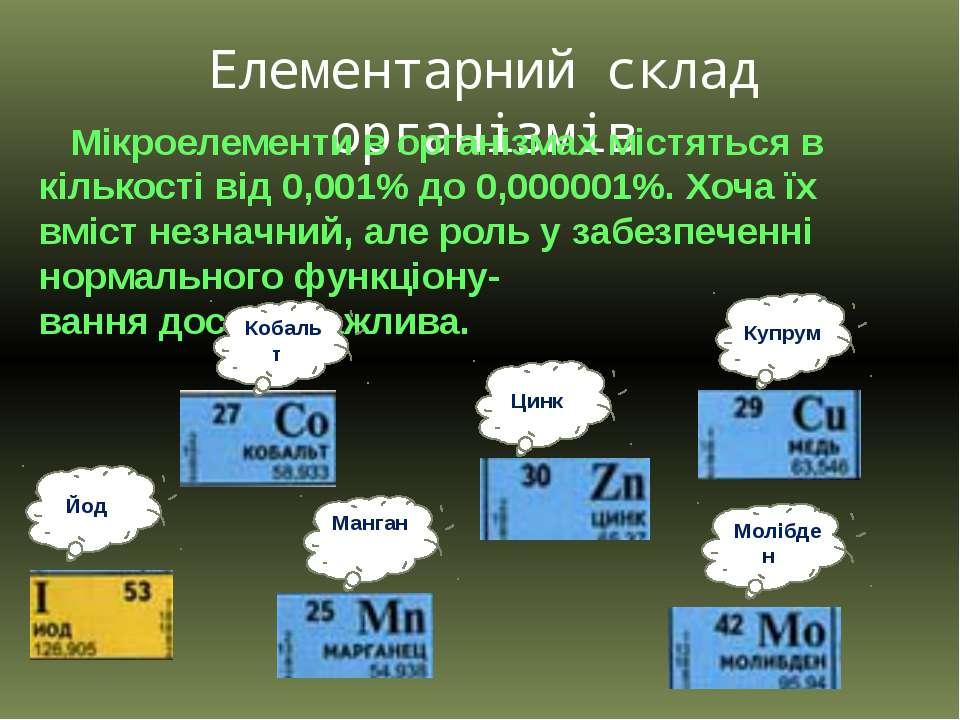 Елементарний склад організмів Мікроелементи в організмах містяться в кількост...