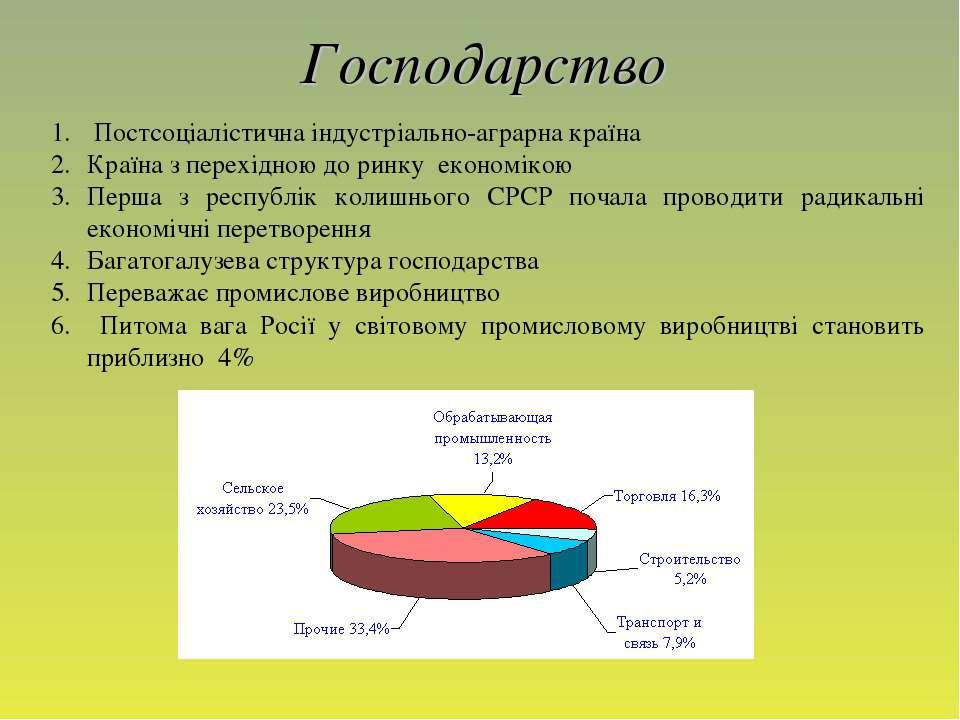 Господарство Постсоціалістична індустріально-аграрна країна Країна з перехідн...