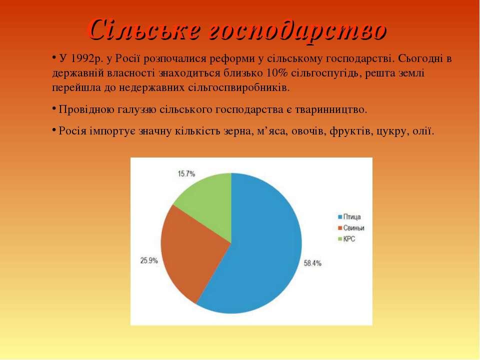 Сільське господарство У 1992р. у Росії розпочалися реформи у сільському госпо...