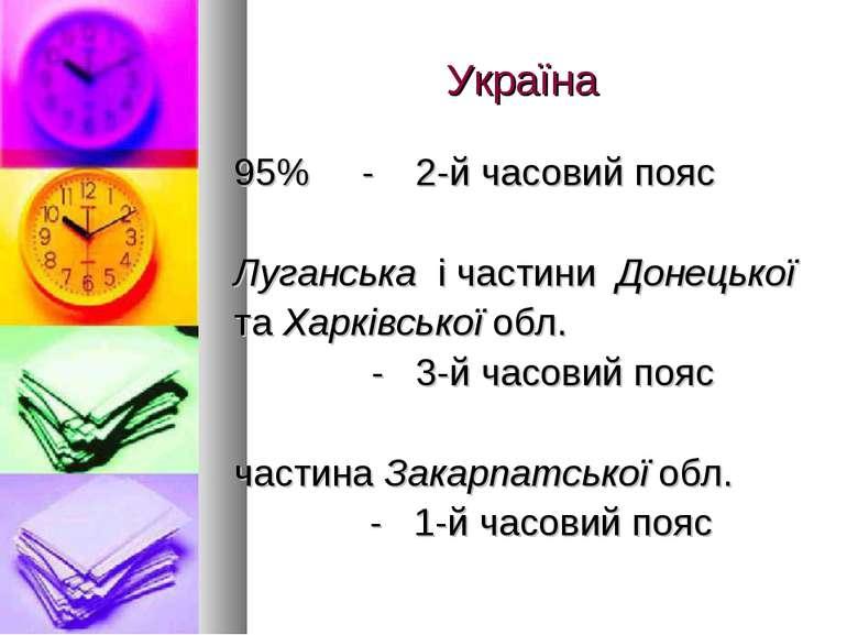 Україна 95% - 2-й часовий пояс Луганська і частини Донецької та Харківської о...