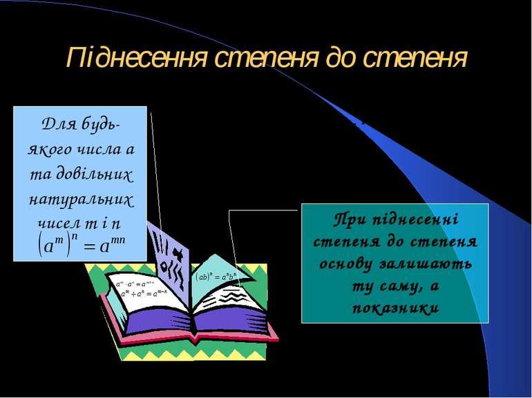 Піднесення степеня до степеня Для будь-якого числа a та довільних натуральних...
