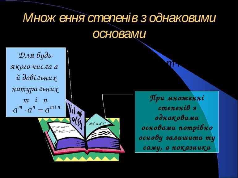 Множення степенів з однаковими основами Для будь-якого числа a й довільних на...