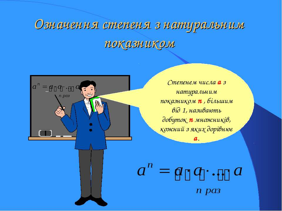 Означення степеня з натуральним показником Степенем числа a з натуральним пок...