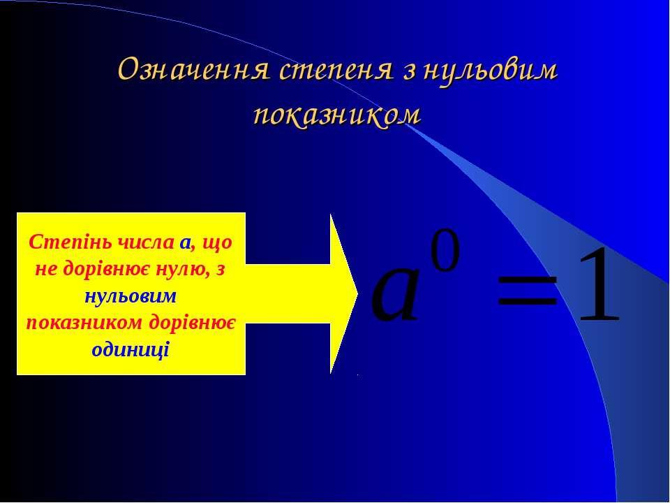 Означення степеня з нульовим показником Степінь числа a, що не дорівнює нулю,...