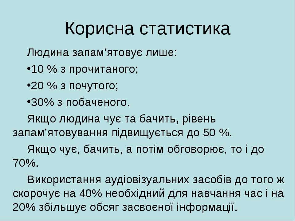 Корисна статистика Людина запам'ятовує лише: 10 % з прочитаного; 20 % з почут...