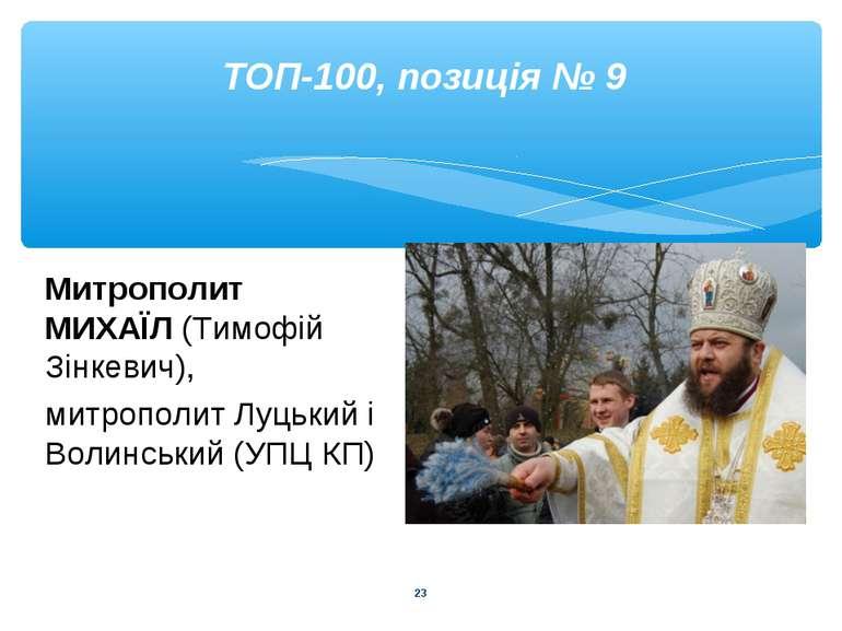 * ТОП-100, позиція № 9 Митрополит МИХАЇЛ (Тимофій Зінкевич), митрополит Луцьк...
