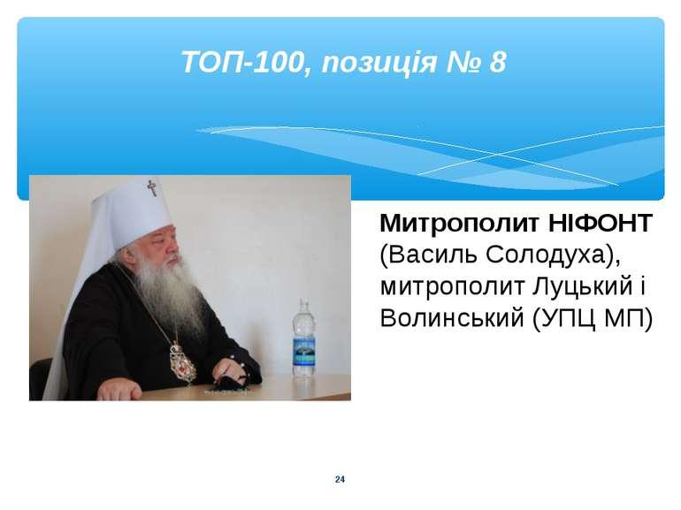 * ТОП-100, позиція № 8 Митрополит НІФОНТ (Василь Солодуха), митрополит Луцьки...