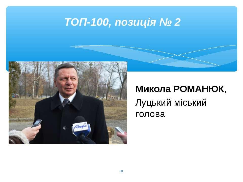 * ТОП-100, позиція № 2 Микола РОМАНЮК, Луцький міський голова