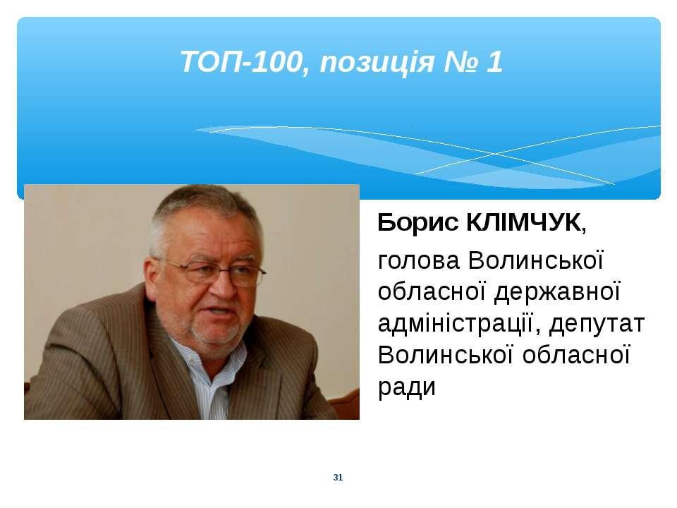 * ТОП-100, позиція № 1 Борис КЛІМЧУК, голова Волинської обласної державної ад...